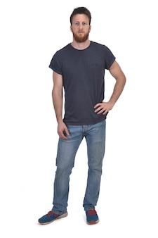 Full portrait of a man hand on waist