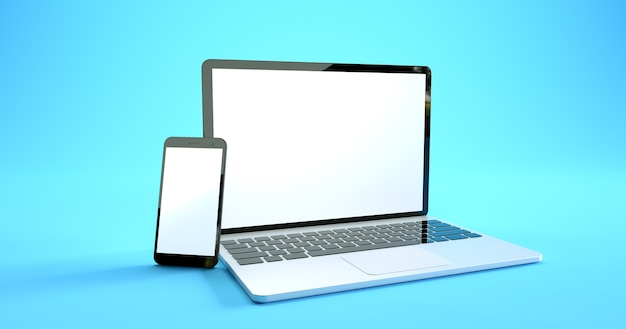 フルスクリーンのスマートフォンとラップトップのモックアップデザイン。デジタルデバイスセット