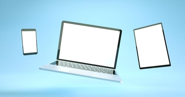 フルスクリーンのスマートフォン、タブレット、ラップトップのモックアップデザイン。デジタルデバイスセット