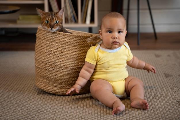 フルショットの赤ちゃんと猫のバスケット