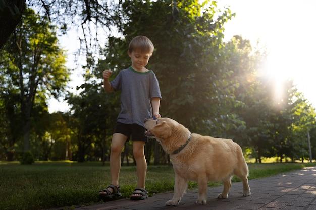 Полный выстрел мальчик и собака в парке
