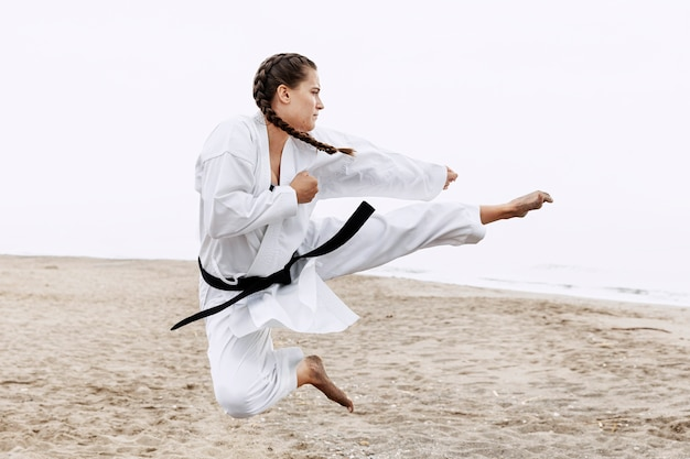 Full shot fit girl karate training