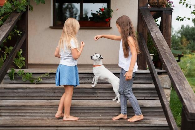 Полный снимок девочек, играющих с собакой