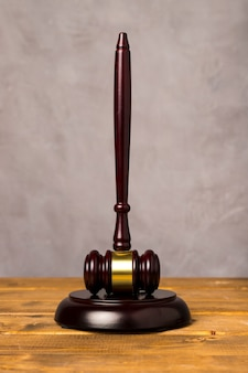 Full shot judge gavel with its striking block