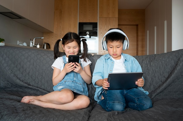 Full shot kids with devices
