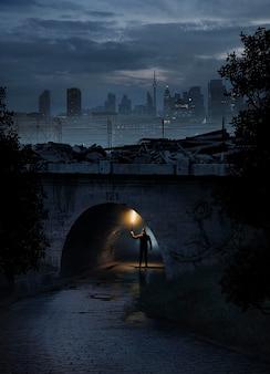 光の橋の下でフルショットの男