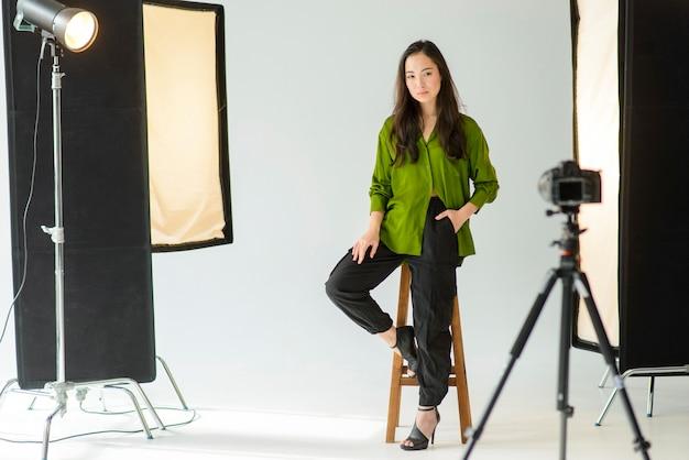Full shot model posing indoors