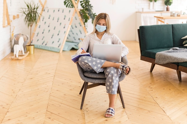 マスク作業でフルショットの女性
