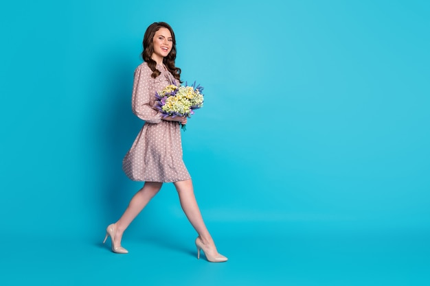 Full size profile photo of beautiful lady overjoyed hold big wildflowers surprise bunch present 8 march women's day walk street wear dotted dress stilettos isolated blue color background