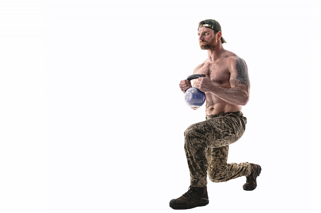 Full size, side view portrait of successful, professional, attractive, concentrated man showing how to make lunges front, back with weight, isolated on white