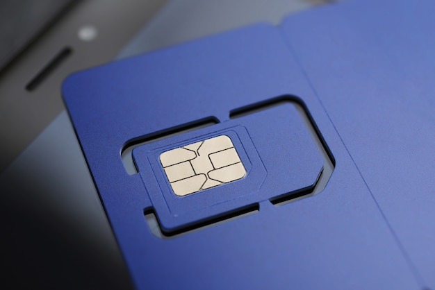 Full-size violet sim card pre-cut mini, micro, nano sizes