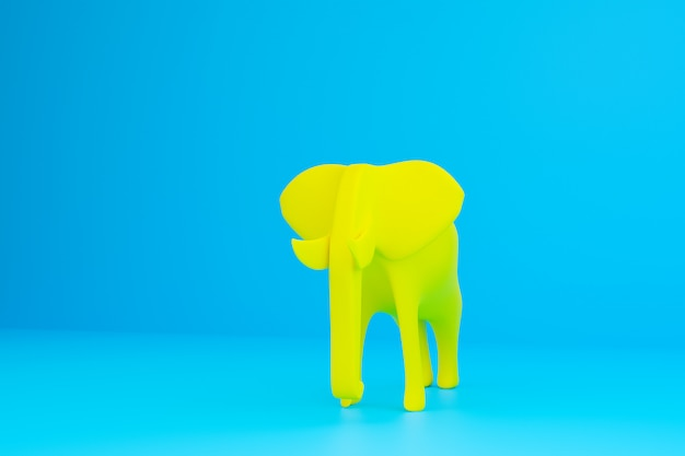Full sized yellow smooth elephant on a blue isolated wall. 3d  rendering model of an elephant in a simplified form. animal sketch concept. design art  elephant