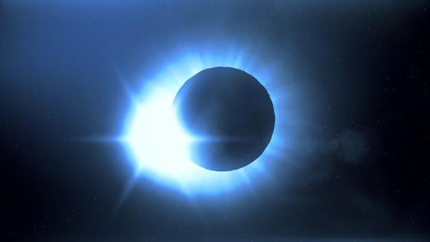 Полное солнечное затмение. луна в основном покрывает видимое солнце, создавая эффект кольца с бриллиантом. это астрономическое явление можно рассматривать как знак конца света. 3d иллюстрация
