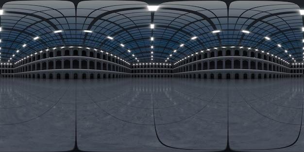 完全な球形のhdriパノラマ360度の空の展示スペース。展示会やイベントの背景。タイル張りの床。マーケティングのモックアップ。 3dレンダリングイラスト