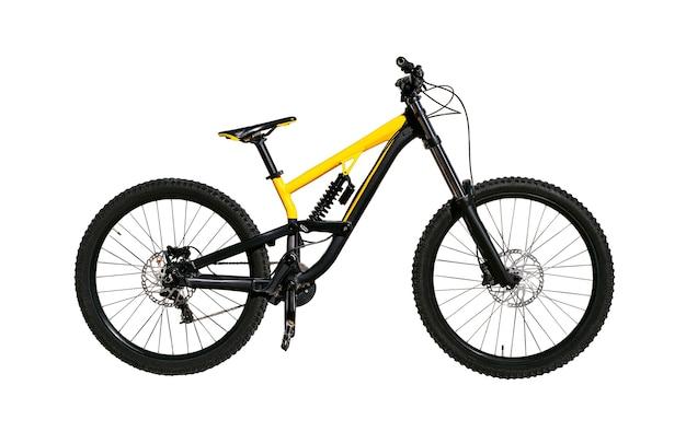 Полноподвесной велосипед с амортизатором и дисковыми тормозами для скоростного спуска и кросса экстремальный велосипед изолирован на белой стене