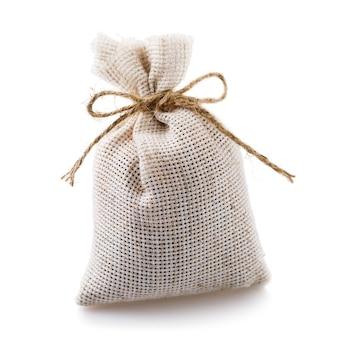 Full textile bag isolated on white background