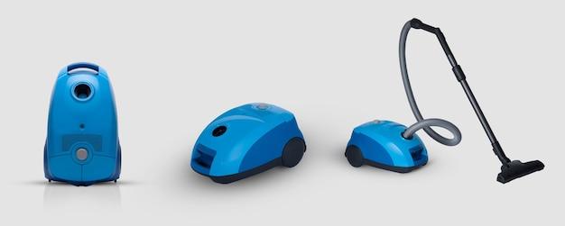 Полный вид современного бытового пылесоса синего цвета на белом фоне