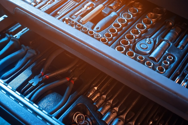 Полностью оборудованный набор инструментов. инструмент.