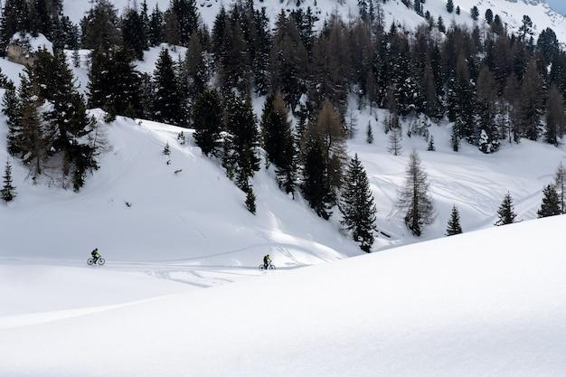 風光明媚な山々で自転車に乗る設備の整ったサイクリスト。雪に覆われた木々の多い地形
