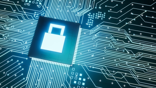 Fully lock symbol microchip on motherboard circuit inside computer hardware, 3d rendering digital data protection and cyber security business concept background