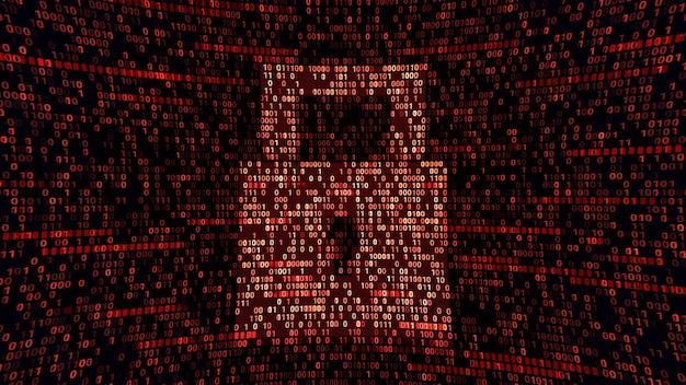 バイナリコーディングサイバースペースの完全保護パッドロックシンボル、抽象的なサイバーセキュリティの安全性、ハードウェアファイアウォールテクノロジーの3dイラスト