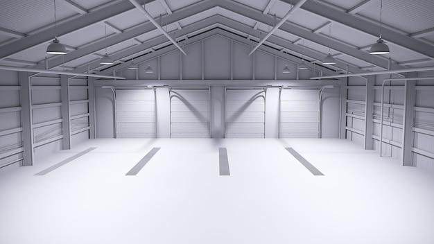 Полностью белый пустой склад с бетонным полом. 3d иллюстрация