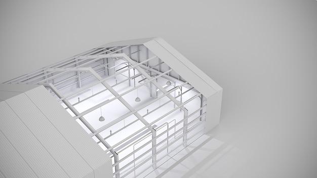 コンクリートの床と真っ白な空の倉庫。 3dイラスト