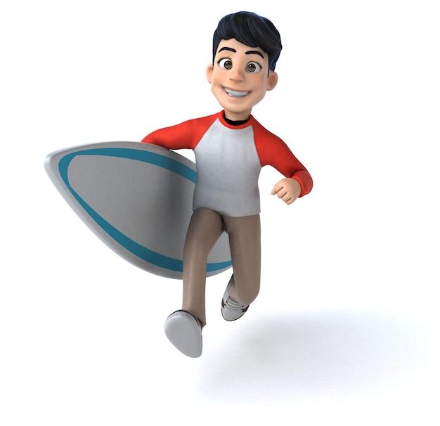 サーボードで楽しい3dアジアのティーンエイジャー
