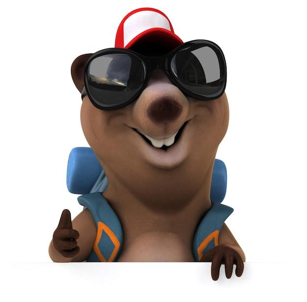 재미 있는 3d 곰 배낭 만화 캐릭터