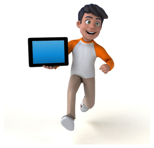 Fun 3d cartoon asian teenager