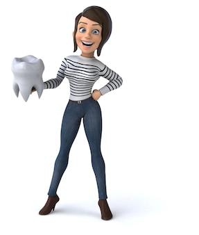 Весело 3d мультфильм случайный персонаж женщина