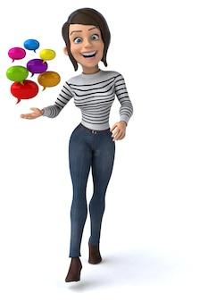 Fun 3d cartoon casual character woman