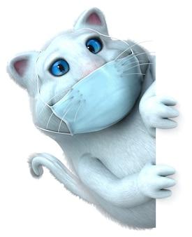 Забавный 3d мультяшный кот с маской