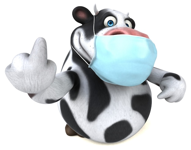 Fun 3d cartoon cow with a mask