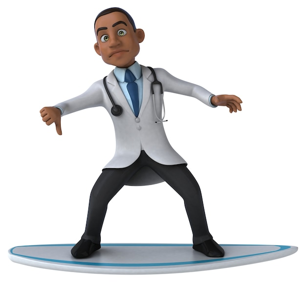 Fun 3d cartoon doctor surfing