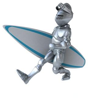 Fun 3d cartoon knight surfing