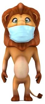 마스크와 함께 재미있는 3d 만화 사자