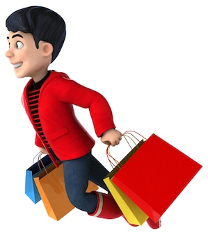Fun 3d cartoon teenage boy shopping
