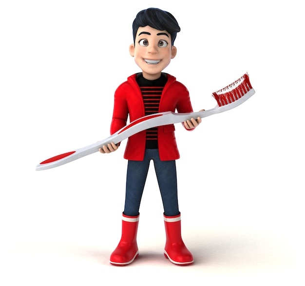 Fun 3d cartoon teenage boy with a toothbrush