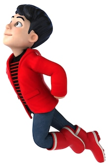 Fun 3d cartoon teenage boy