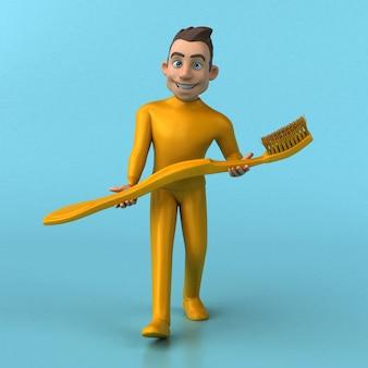 楽しい3d漫画の黄色のキャラクター