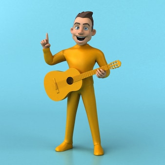 재미있는 3d 만화 노란색 캐릭터