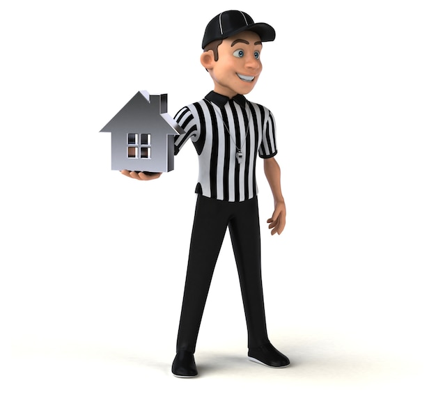 Fun 3d character of an american referee