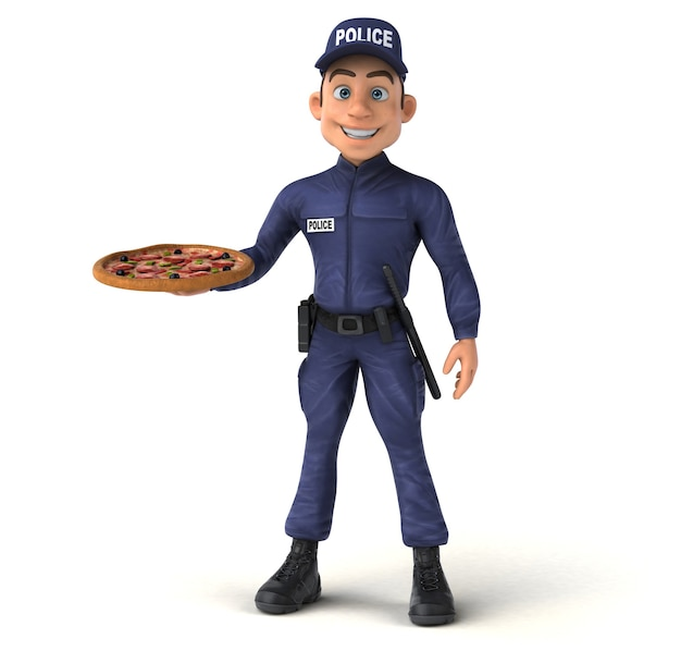 Fun 3d character of a cartoon police officer