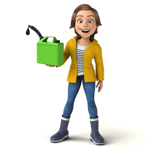 Fun 3d character of a cartoon teenage girl