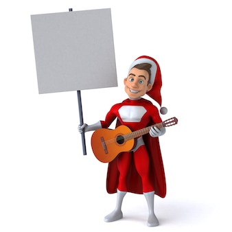 Fun 3d character of a fun super santa claus