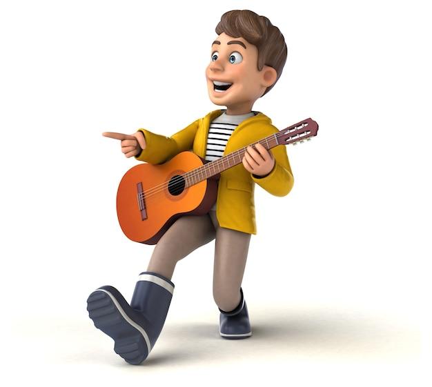 Забавный 3d персонаж мультяшного ребенка с дождевиком