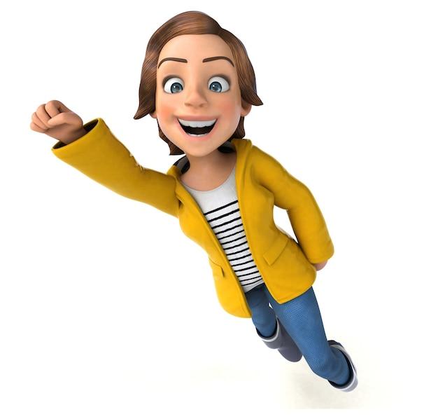 Забавный 3d персонаж мультяшной девочки-подростка с дождевиком