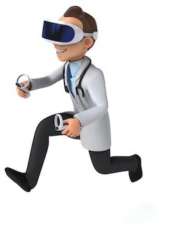 Забавный трехмерный персонаж доктора в шлеме виртуальной реальности