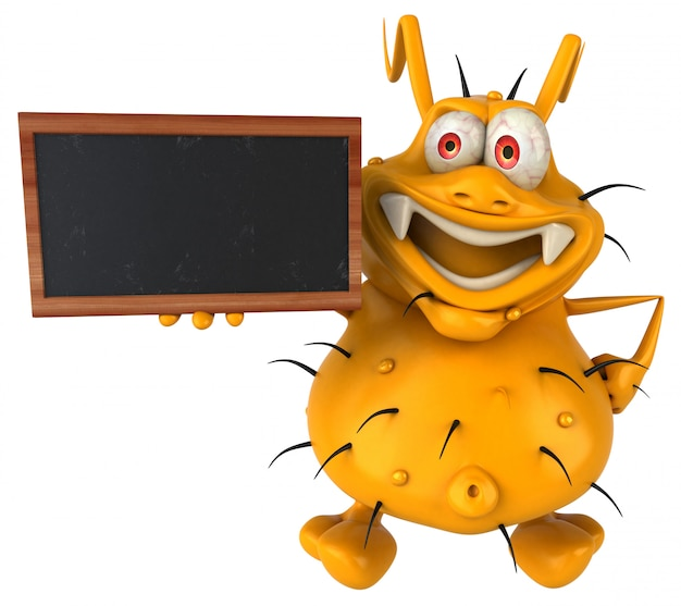 칠판을 들고 재미있는 3d 세균 괴물